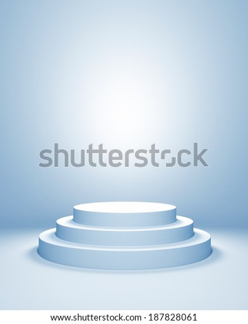 Empty illuminated podium in blue toning