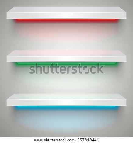 Empty illuminated shelves