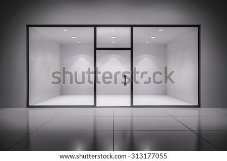 Empty illuminated store exposition interior realistic background  illustration - stock photo
