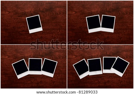 Empty instant photos on wooden table background collage of 4 photos - stock photo