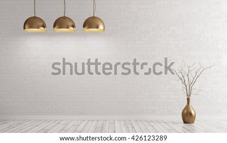 Empty interior background, room with metal brass lamps over white brick wall 3d rendering - stock photo