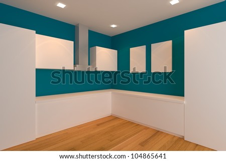 empty interior design for kitchen room with blue wall.