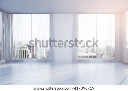 Empty interior design with curtains, windows and New York city view. 3D Rendering - stock photo