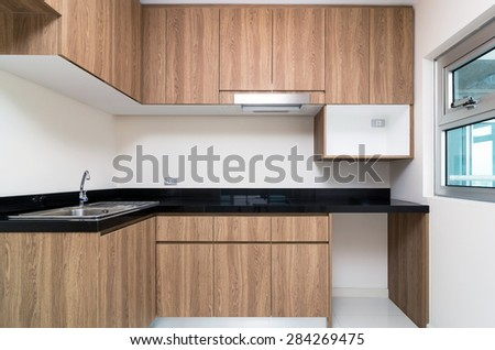 Empty Interior kitchen Room in a new apartment - stock photo