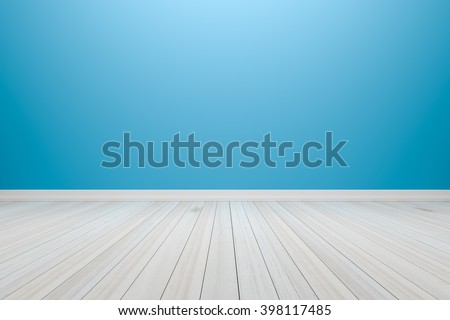Empty interior light blue room with wooden floor, For present your products.  - 3D render image. - stock photo