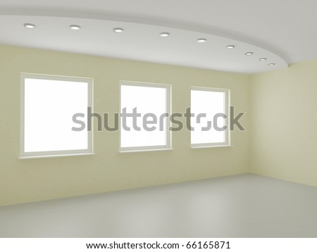 Empty interior, new room, office or residential, clipping path for windows included, 3d illustration