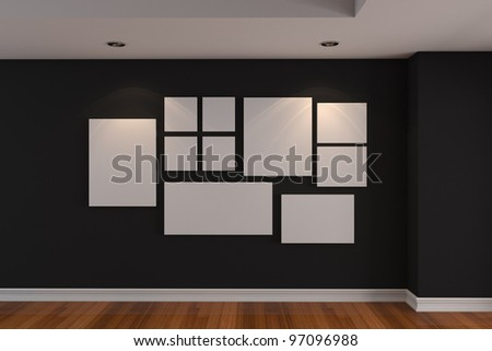 Empty interior room Gallery The picture on the black wall. Decorated color wall and wood floor with empty room. - stock photo