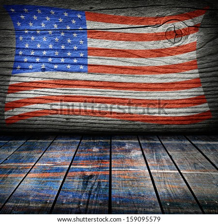 empty interior room with american flag colors ready for product montage - stock photo