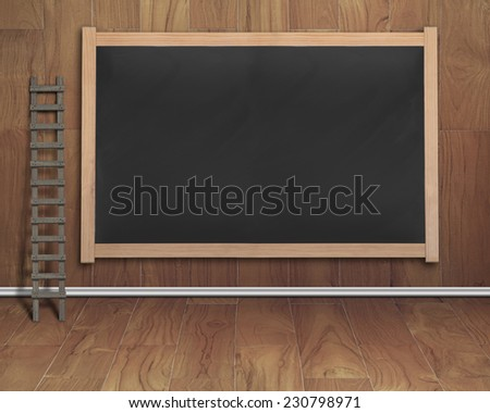 empty interior room with ladder and black blank chalkboard on teak wooden wall and floor - stock photo