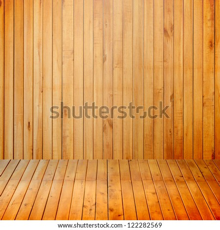 Empty interior room with wood wall - stock photo