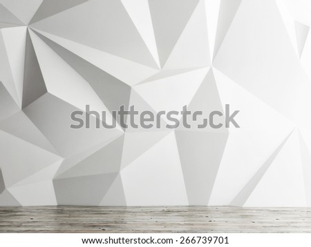 empty interior space wall background, 3d illustration - stock photo