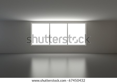Empty interior, three windows, clipping path for windows view included - stock photo