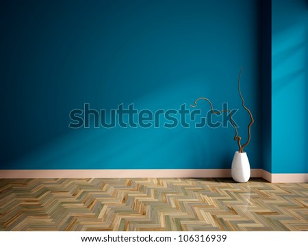 empty interior with a blue wall  and vase - stock photo