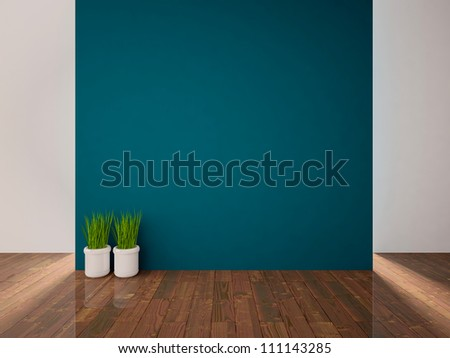 empty interior with a blue wall and white vases with grass - stock photo