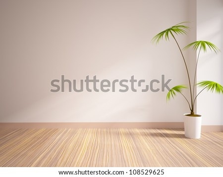 empty interior with a palm - stock photo