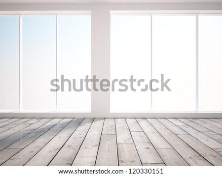 empty interior with big window - stock photo