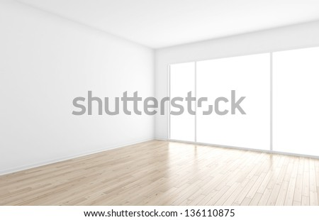 empty interior with big window - stock photo
