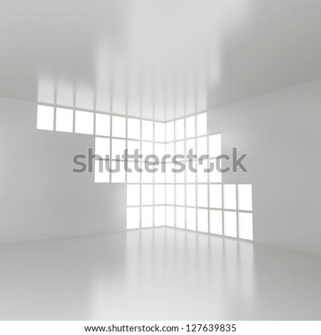 Empty Interior with Big Window - 3d illustration - stock photo