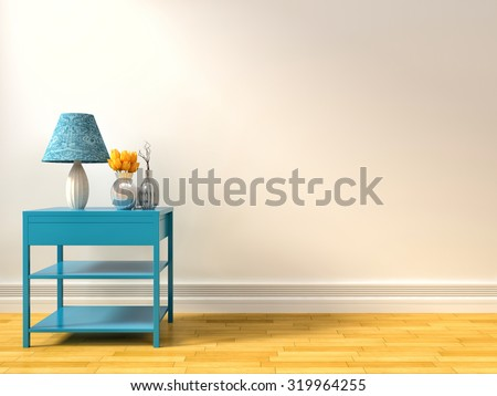empty interior with blue lamp. 3d illustration - stock photo