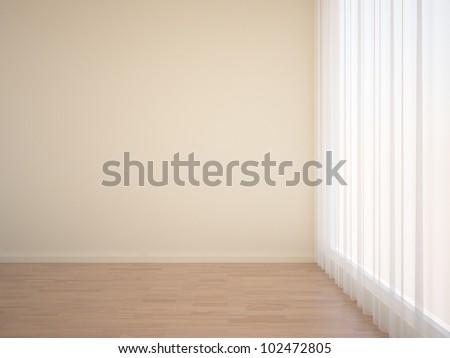 empty interior with curtain - stock photo