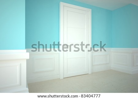 empty interior with door - stock photo