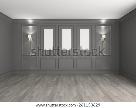Empty interior with frames for paintings 3d rendering - stock photo