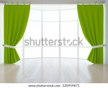 Empty interior with green curtains. 3d rendering - stock photo