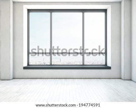 Empty interior with large window - stock photo