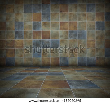 Empty interior with multicolor tiled wall background