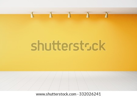 Empty interior with orange wall and white floor 3D Render - stock photo