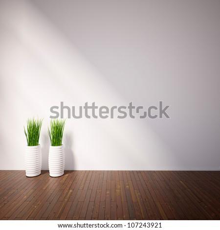 empty interior with plants - stock photo