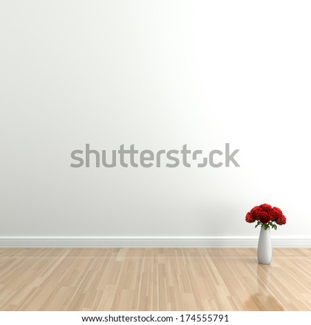 Empty interior with rose,  High-resolution 3d rendering - stock photo