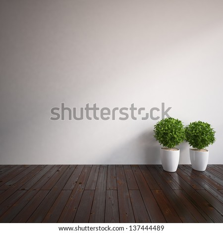 empty interior with vases - stock photo