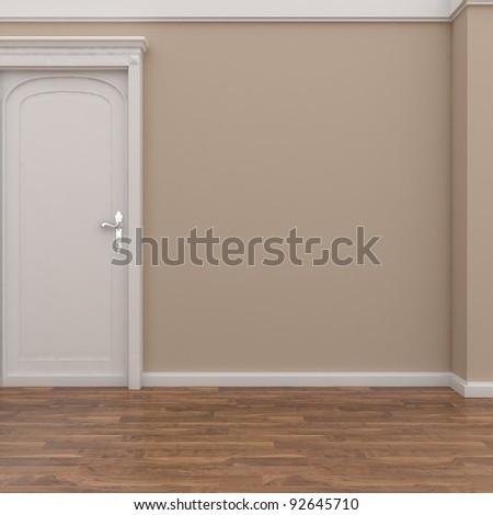 empty interior with white door - stock photo