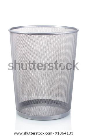 Empty iron trash bin isolated on white - stock photo