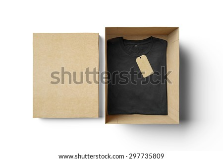 Empty isolated box and black tshirt with label - stock photo