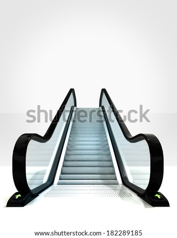 empty isolated escalator leading to upwards concept illustration - stock photo