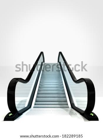empty isolated escalator leading to upwards concept illustration - stock photo