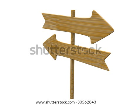 empty isolated wooden signpost. 3d