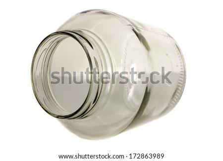 Empty jar isolated on white.  - stock photo