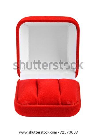 Empty jeweler box on white bakcground - stock photo