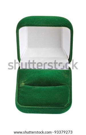 Empty jeweller box on white background - stock photo