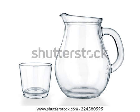 Empty jug and glass on a white background. - stock photo