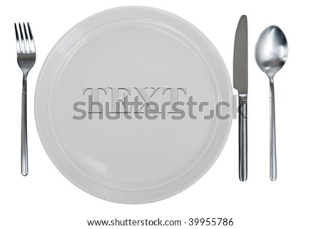 empty kitchen plate, fork, spoon and table-knife