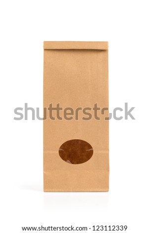 Empty kraft paper pack with window isolated on white