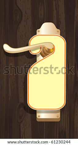 Empty label on a door handle. Raster version of vector illustration. - stock photo