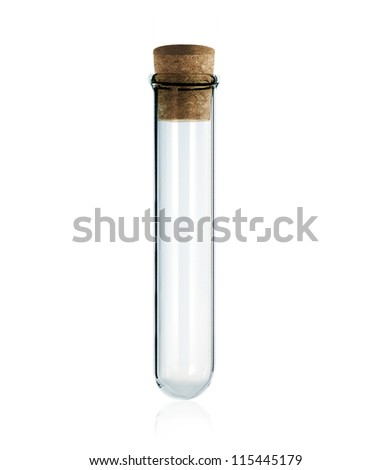 empty laboratory test tube with cork isolated on white background - stock photo