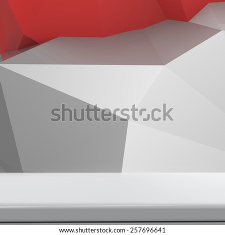 Empty laminate shelf on laminate table and low poly geometric background