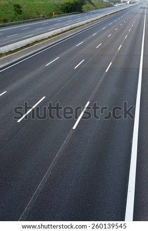 empty 8-lane  highway due to road and bridge works - stock photo