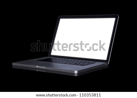 empty Laptop on dark background. (with part) - stock photo